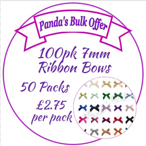 50 packs 7mm Satin Ribbon Bows - Bulk Order