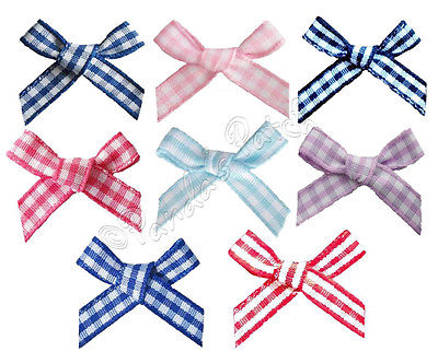 Gingham Polyester 7mm Ribbon Bows
